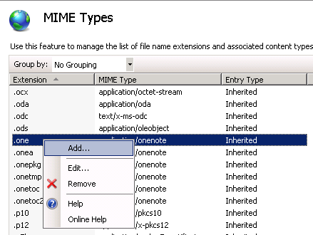 IIS Manager Mimetypes Panel