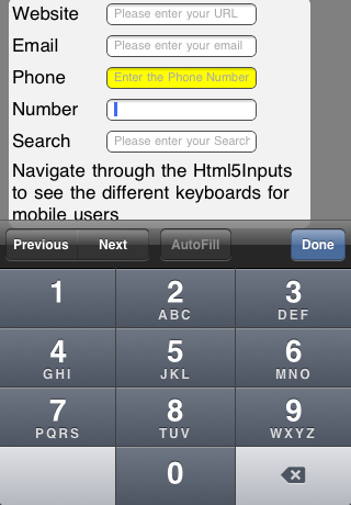 iPhone Number Keyboard
