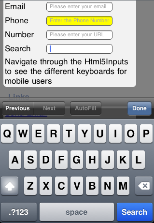 iPhone Search Keyboard